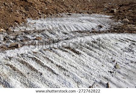 Salt crystallisation at coast of the Dead Sea, Jordan  - stock photo