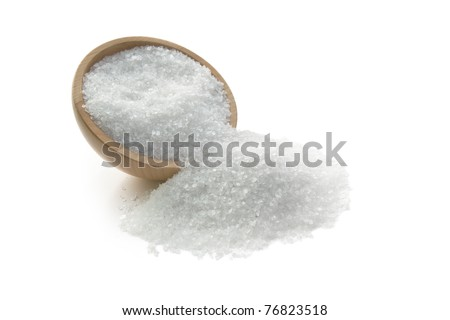 salt crystals in wooden bowl - stock photo