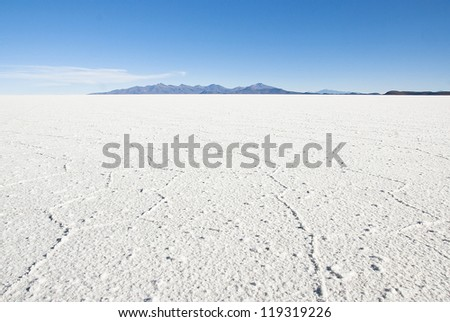 Salt desert, Salar de Uyuni in Bolivia. - stock photo