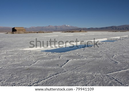 Salt factory Andeans - stock photo