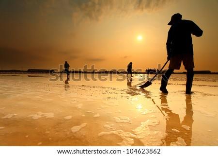 Salt farming in the coastal Phetchaburi provinces of Thailand