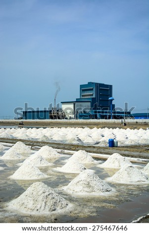 salt field and factory in Thailand - stock photo