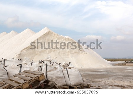 Salt hills of a salt plantation on Majorca