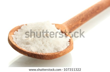salt in  wooden spoon isolated on white