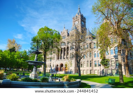 Salt Lake City and County Building on a sunny day - stock photo