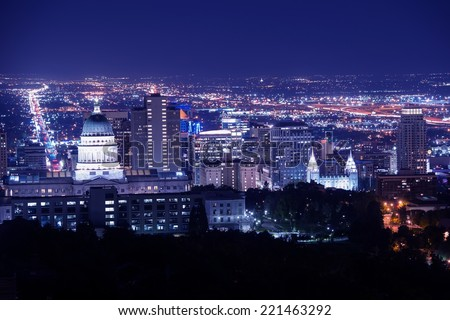Salt Lake City at Night Panorama with Capitol Building. Salt Lake City, Utah, United States. - stock photo