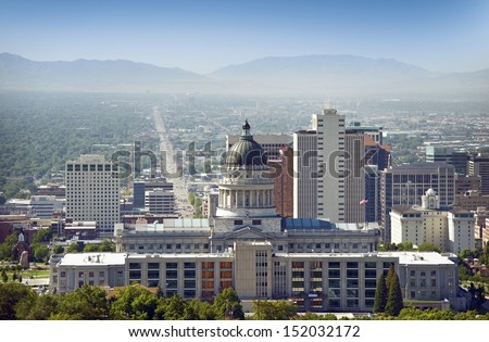 Salt Lake City Panorama and Capital Building. Salt Lake City, Utah, USA - stock photo