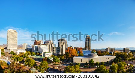 Salt Lake City panoramic overview in the evening - stock photo