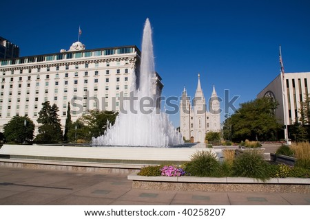 Salt Lake City Temple, fountain and colorful flowers - stock photo