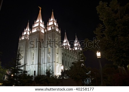 Salt Lake City Temple, night scene - stock photo