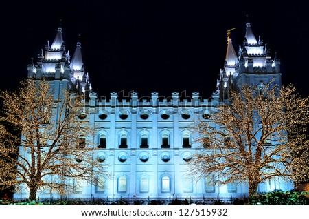 Salt Lake City Temple Square Christmas Lights on Trees and Steeples - stock photo