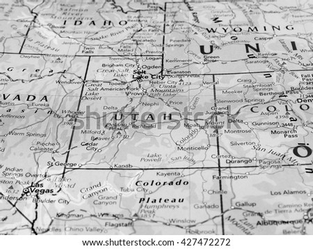 SALT LAKE CITY, USA - CIRCA MAY 2016: Map of the state of Utah with selective focus on state name in black and white