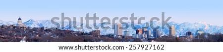 SALT LAKE CITY, UT - MARCH 4,2015: Salt Lake City at sunset Panorama with Capitol Building - stock photo