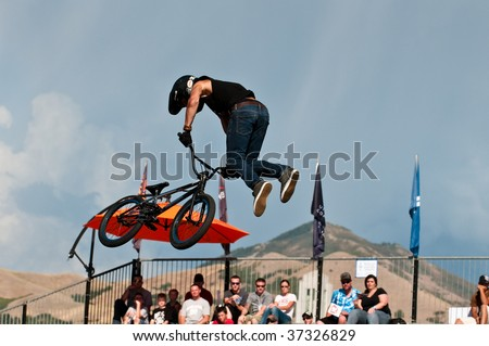 SALT LAKE CITY, UT - SEPTEMBER 18: Craig Mast during a tail whip at the 2009 Dew Tour Toyota Challenge held in Salt Lake City, Utah on September 18, 2009. - stock photo