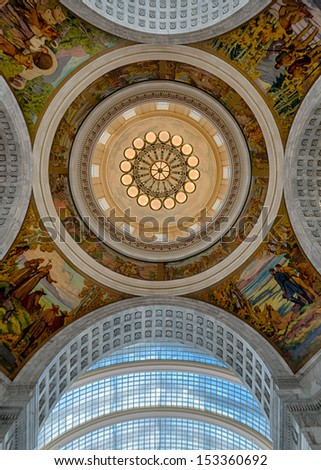 SALT LAKE CITY, UTAH - AUGUST 15: Inner dome and ceiling of the rotunda from inside the Utah State Capitol building on Capitol Hill on August 15, 2013 in Salt Lake City