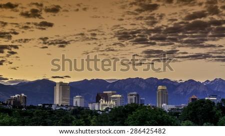 Salt Lake city Utah skyline - stock photo