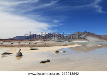 Salt lake in Los Flamencos National Reserve, desert Atacama, Chile - stock photo
