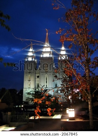 Salt Lake Temple in Historic Temple Square - stock photo