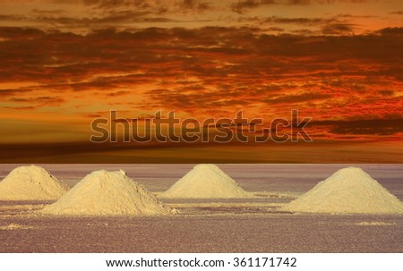 Salt Lakes Bolivia in the sunset a remote place - stock photo