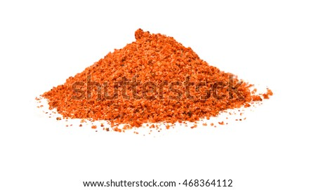 Salt mixed with red dried chili on white
