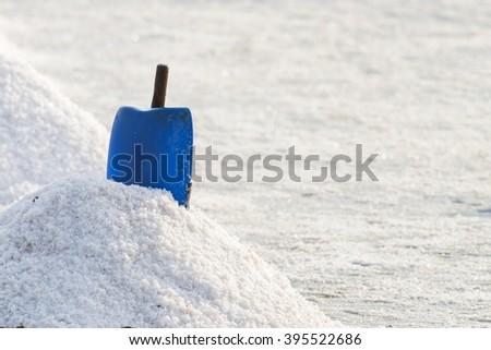 Salt pan in Thailand - stock photo
