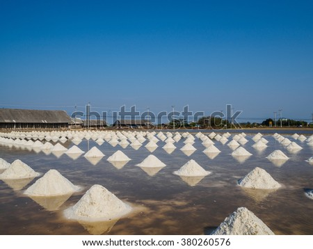 Salt piles in Saline for ready to harvest, Thailand