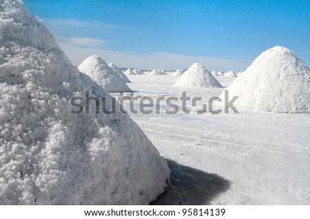 Salt pyramids in Salar de Uyuni , Bolivia - stock photo