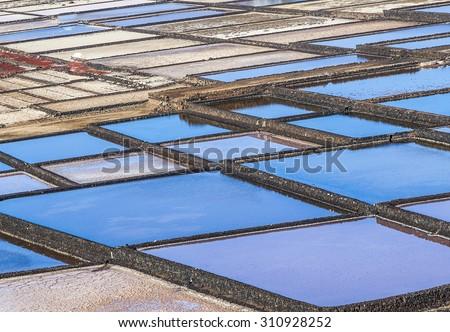 Salt refinery, Saline from Janubio, Lanzarote, Spain - stock photo