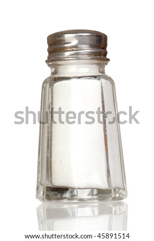 Salt shaker glass with reflection isolated on white background