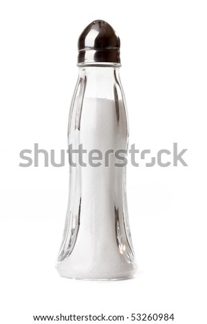 salt shaker on white background - stock photo