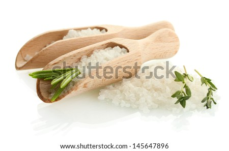 salt with fresh rosemary and thyme isolated on white - stock photo