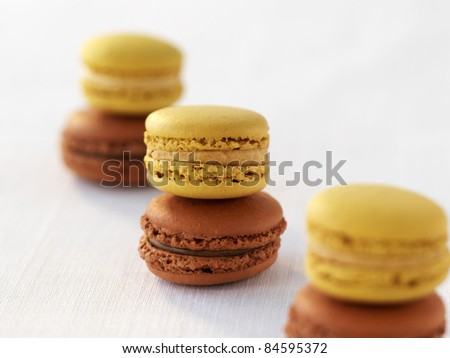 Salted butter toffee macaroons and Carambar macaroons