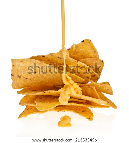 Salted corn chip nacho snack with cheese sauce isolated on white background - stock photo