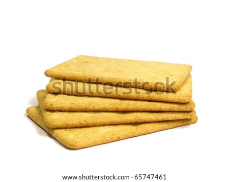 Salted crackers on the white isolate background