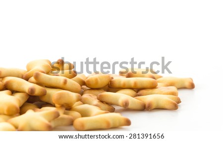 salted crackers or biscuit fish shape - stock photo
