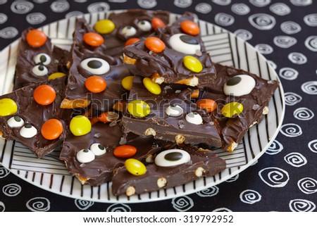 Salted Halloween Monster Chocolate or Almond Bark - stock photo