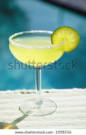 Salted Margarita by the Pool - stock photo