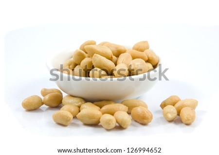 Salted peanuts. Nuts in a Small Bowl - stock photo