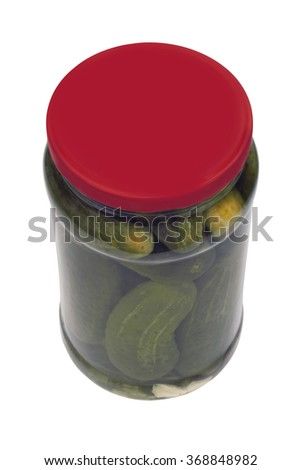 Salted ,pickled cucumber in isolated gluss - stock photo