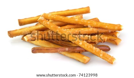 Salted pretzel snack on the white background - stock photo
