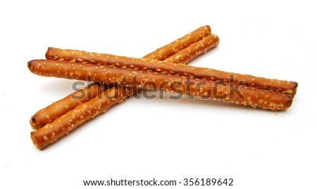 salted pretzels isolated on a white background - stock photo