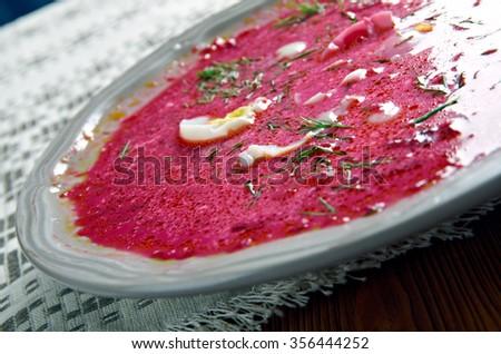 Saltibarschai Lithuanian cold Beet Soup - stock photo