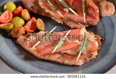 Saltimbocca with sage - stock photo