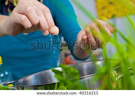 Salting water - stock photo