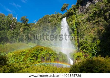 Salto El Leon waterfall, Pucon, Chile - stock photo
