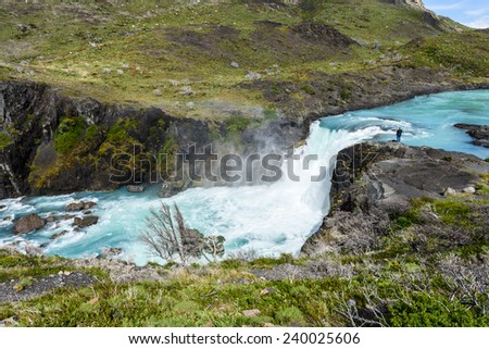 Salto Grande waterfall in Torres del Paine national park, Patagonia, Chile - stock photo