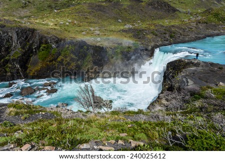 Salto Grande waterfall in Torres del Paine national park, Patagonia, Chile