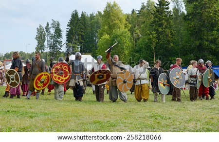 SALTVIK, ALAND ISLANDS, FINLAND - JULY 25,2013:Viking Market has gained huge popularity and with its 8000 - 9000 annual visitors it is one of major Viking markets in Scandinavia. - stock photo