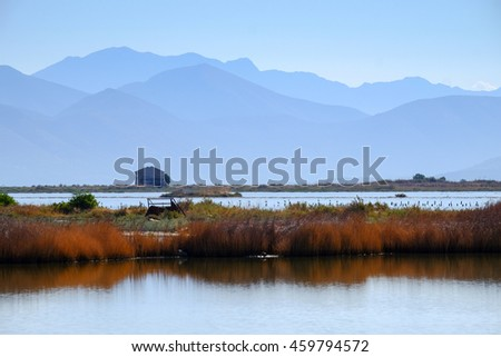 Saltworks in the south of Corfu Island, Greece. Now abandoned. Touristic attraction. - stock photo