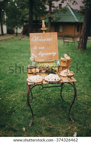 salty bar. celebration. cheese bar. Cheese Bar of several kinds of cheese, grapes, olives and bread decorated on vintage wooden table with curved metal legs, table standing on a green lawn - stock photo